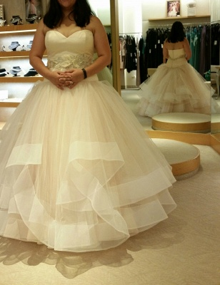 Ball-Gown Exquisite Tiered Crystal-Sashes Sleeveless Tulle Sweetheart Wedding Dresses_4