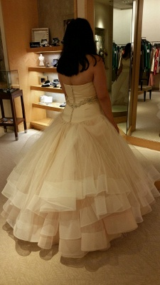 Ball-Gown Exquisite Tiered Crystal-Sashes Sleeveless Tulle Sweetheart Wedding Dresses_3