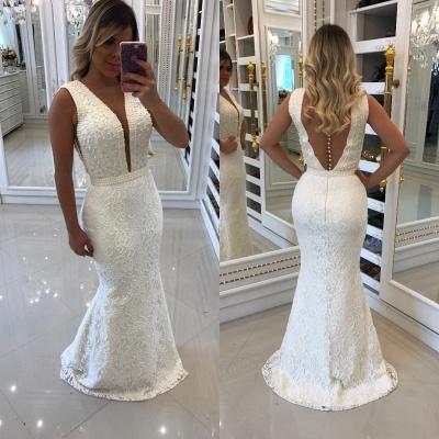 Floor-Length Beading V-Neck White Prom Dresses_3
