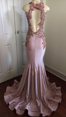 Sparkly Long Mermaid Prom Dresses   Sleeveless Keyhole Neck Evening Gowns_4