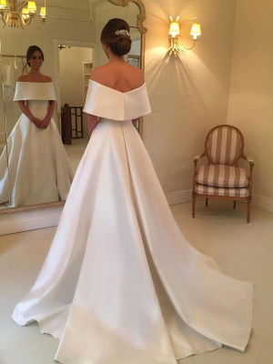Glamorous White Off-the-shoulder A-line Satin Wedding Dress_3
