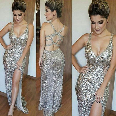Glamorous Mermaid Sequins Sleeveless 2019 V-Neck Prom Dress_3