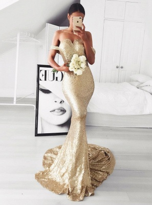 Sexy Off-the-Shoulder Evening Dresses | Sleeveless Mermaid Gold Prom Dresses_5