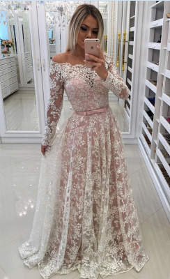 Prom Long Sleeves Lace Shoulder Dresses Pink Newest A-Line Pearls Off Evening Dresses_2