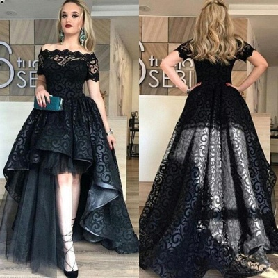 Lace Short-Sleeve Black Hi-Lo Sexy Prom Dress_4