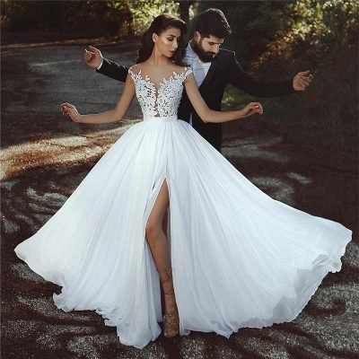 Sleeveless A-line Chiffon Wedding Dresses | Lace Appliques Slit Bridal Gowns_3