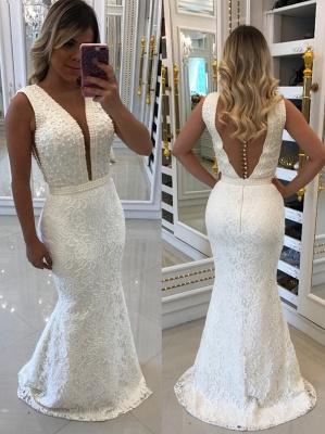 Floor-Length Beading V-Neck White Prom Dresses_2