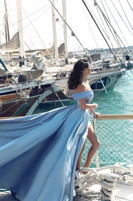 Sexy Sky Blue Prom Dresses Off-the-Shoulder Side Slit Gorgeous Evening Gowns_3