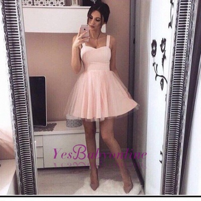 A-Line Mini  Straps Simple Pink Cheap Homecoming Dresses_1