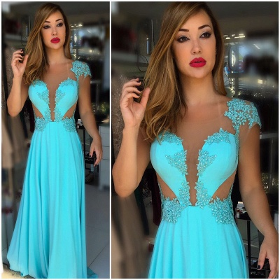 Floor-Length Popular Scoop Pearls Prom Dress_3