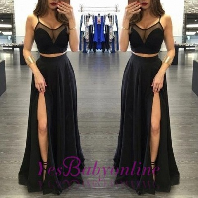 Sheer-Neck Side Two-Piece Black Sexy Slit Long Prom Dresses_1