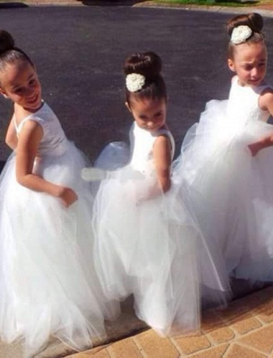 Lovely Floor-length Tulle Princess Jewel Flower Girl Dress