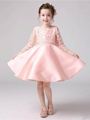 Lovely A-Line Satin Lace Flower Girl Dress | Long Sleeves Scoop Bowknot Girl Party Dress_1