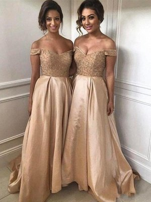 A-Line Gorgeous Sweetheart Long Bridesmaid Dresses | Off Shoulder Sweep Train Maid of the Honor Dresses with Beadings_1