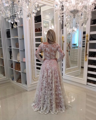 Prom Long Sleeves Lace Shoulder Dresses Pink Newest A-Line Pearls Off Evening Dresses_3