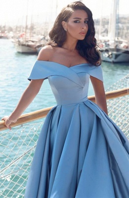 Sexy Sky Blue Prom Dresses Off-the-Shoulder Side Slit Gorgeous Evening Gowns_2