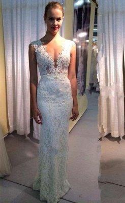 Glamorous Capped Sleeves Deep V-Neck Lace Mermaid Wedding Dresses_2