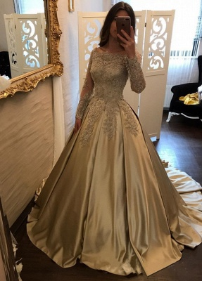2019 Ball Gown Prom Dresses Off-the-Shoulder Gold Long Sleeves Evening Dresses_4
