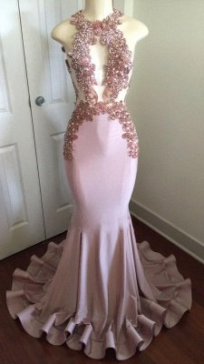 Sparkly Long Mermaid Prom Dresses | Sleeveless Keyhole Neck Evening Gowns_1
