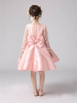 Lovely A-Line Satin Lace Flower Girl Dress | Long Sleeves Scoop Bowknot Girl Party Dress_3