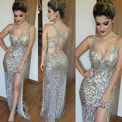 Glamorous Mermaid Sequins Sleeveless 2019 V-Neck Prom Dress_3