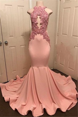 Pink Mermaid Sleevless Prom Dresses | Appliques High Neck Evening Gowns_1