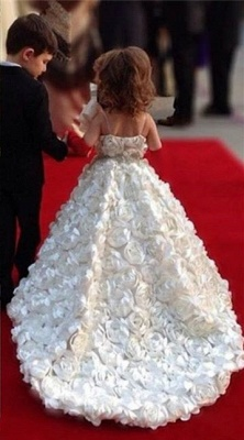 Sweet White Spaghetti Strap Ball Gown Flower Girl Dresses | Sweep Train Girls Pageant Dresses with Flowers Design_2