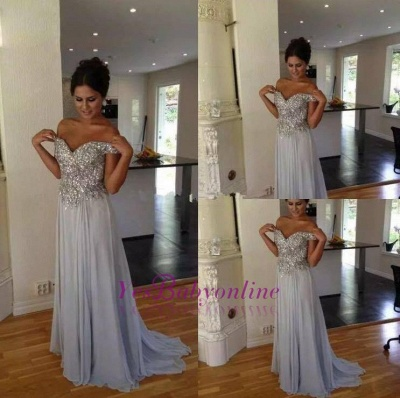 Crystals A-line Silver Long Off-the-Shoulder  Prom Dresses_1