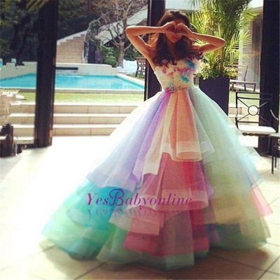 Princess Puffy Floral Organza Ball Gown Tiered Rainbow Strapless Evening Dresses_1