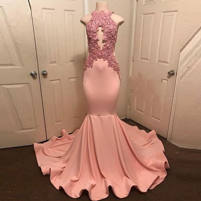 Pink Mermaid Sleevless Prom Dresses | Appliques High Neck Evening Gowns_3