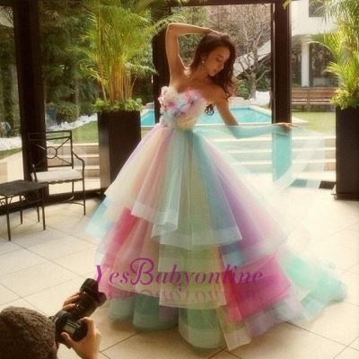 Princess Puffy Floral Organza Ball Gown Tiered Rainbow Strapless Evening Dresses_5