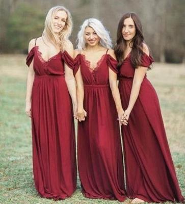 Elegant Burgundy Chiffon Bridesmaid Dresses   Off-the-Shoulder A-line Wedding Party Dress_3