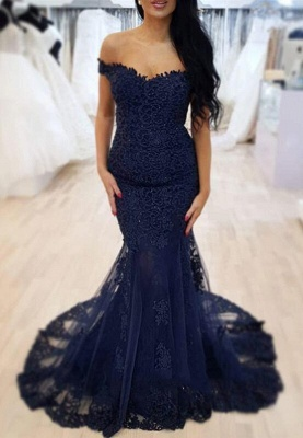 Elegant Mermaid Lace Dark Navy Prom Dresses | Off-the-Shoulder Sleeveless Evening Gowns_2