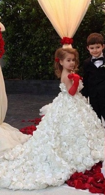 Sweet White Spaghetti Strap Ball Gown Flower Girl Dresses | Sweep Train Girls Pageant Dresses with Flowers Design_1