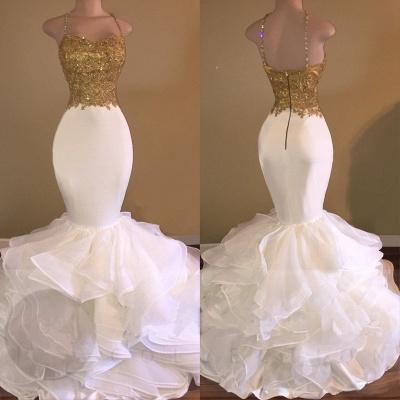 Amazing Gold & White Prom Dresses Spaghetti Straps Beading Ruffles Train Mermaid Evening Gowns_3