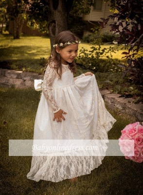 Lovely Flower Floor Length A-line Lace Long-Sleeve Jewel Flower Girl Dress with Bowknot_3