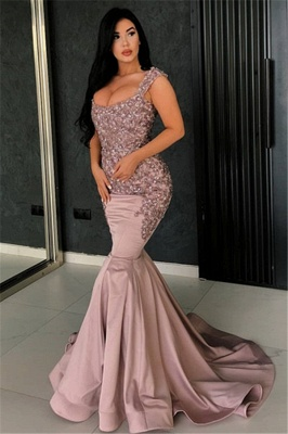 Sexy Pink Straps Appliques Long Mermaid Evening Dress | Floor Length Evening Dresses_1