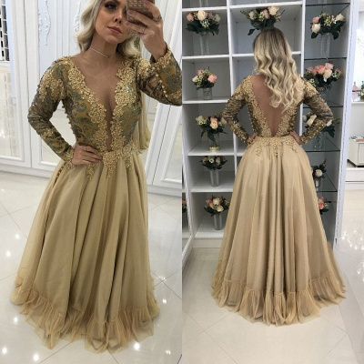 Long Chic Lace Sleeves Floor-Length V-Neck Prom Dresses_3