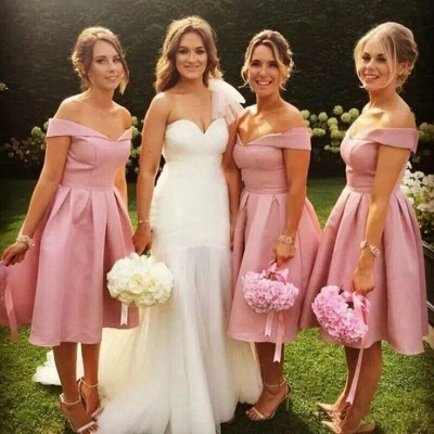 Elegant Off-the-Shoulder Wedding Party Dresses | Simple Pink A-Line Bridesmaid Dresses_3