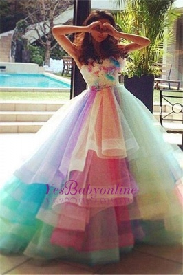 Princess Puffy Floral Organza Ball Gown Tiered Rainbow Strapless Evening Dresses_3