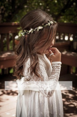 Lovely Flower Floor Length A-line Lace Long-Sleeve Jewel Flower Girl Dress with Bowknot_4