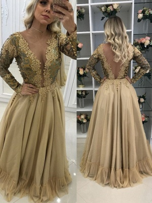 Long Chic Lace Sleeves Floor-Length V-Neck Prom Dresses_2