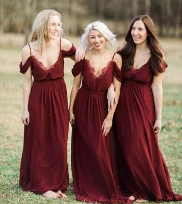 Elegant Burgundy Chiffon Bridesmaid Dresses   Off-the-Shoulder A-line Wedding Party Dress_4