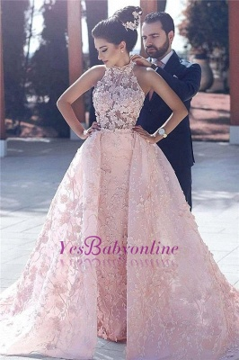 Halter Glamorous Sleeveless Lace-Appliques Pink Evening Dress_2