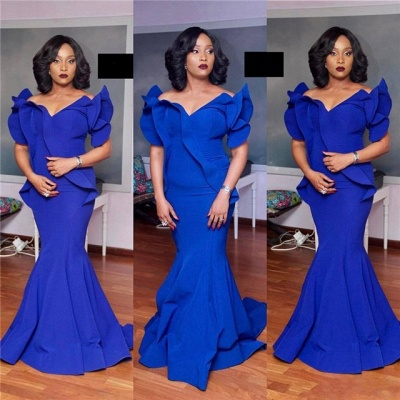 Elegant Mermaid Evening Dresses | Royal Blue Petal Sleeves Long Prom Dresses_3
