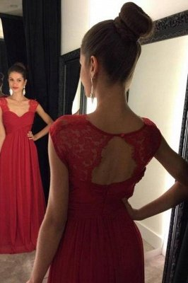 Red Lace Chiffon Floor-Length Cap-Sleeves A-line Modest Prom Dresses_2