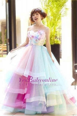 Princess Puffy Floral Organza Ball Gown Tiered Rainbow Strapless Evening Dresses_2