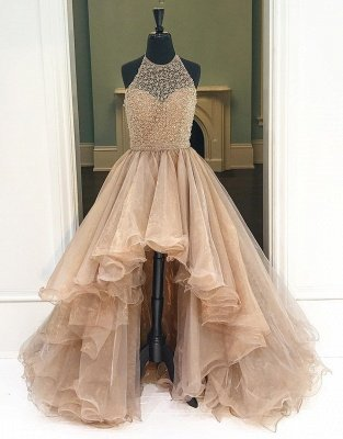 Prom Dresses Low Halter Beading A-Line Brilliant  High Evening Dresses_6