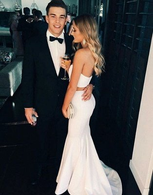 White Two-Piece Mermaid Prom Dresses Sleeveless Simple Evening Gowns_3