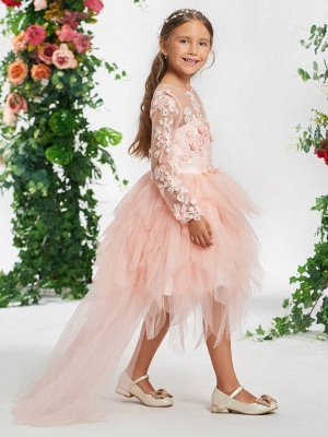 Hi-Lo Bateau Long Sleeves Girls Party Dress with Flowers_3
